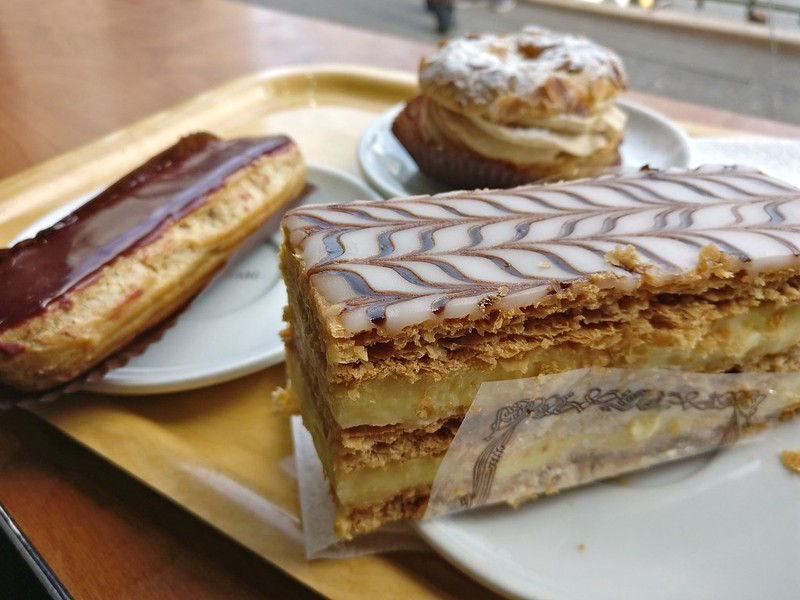 Millefeuille, Eclairs and Paris Brest at a Boulangerie in Gare Du Nord with a shot of espresso.