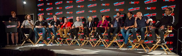 Moderator Alicia Malone, Ben Edlund, David Fury, Peter Serafinowicz, Griffin Newman, Jackie Earle Haley, Valorie Curry, Yara Martinez, Brendan Hines, Scott Speiser, Michael Cerveris and Barry Josephson