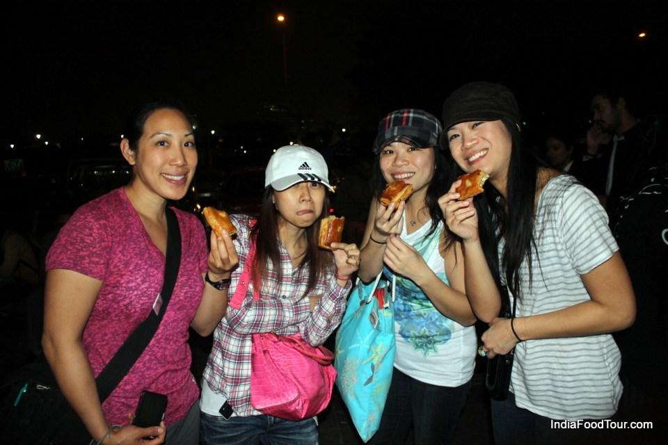 Tasting pastries in New Delhi