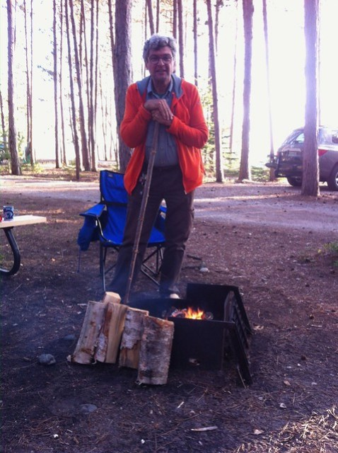 Lake Superior camping Pierre by the fire