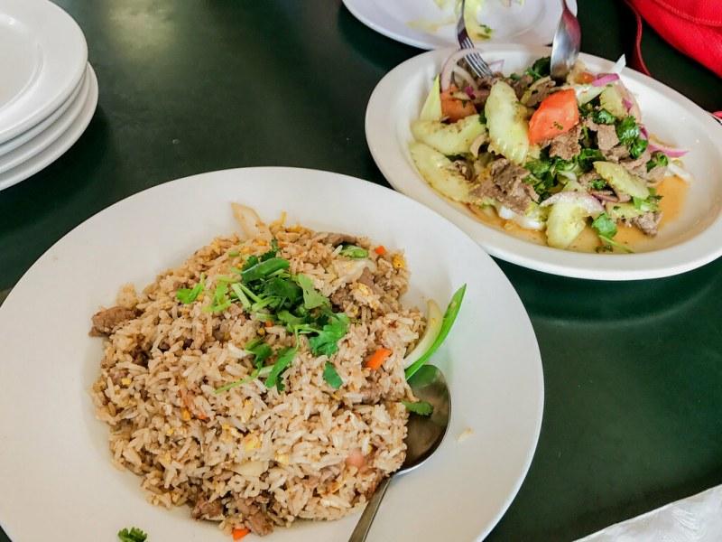 Beef Salad, Cucumber, Onion, Cilantro, Thai Dressing, Lettuce ($8.95) Thai Fried Rice with Pork ($8.95)