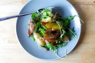 sausage and potato roast with arugula, mine