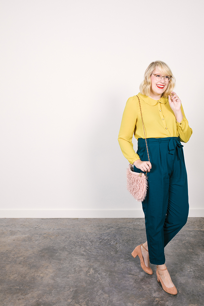 colorful fall capsule teal obi tie trousers yellow blouse6