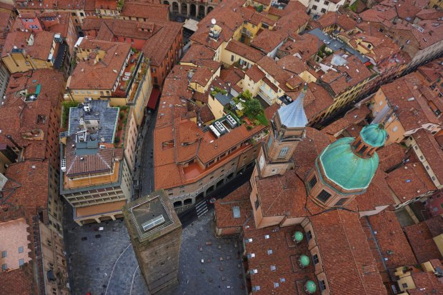 Piazza Ravegnana viewed from the top of the Asinelli Tower