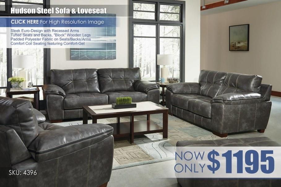 Hudson Steel Sofa & Loveseat 4396