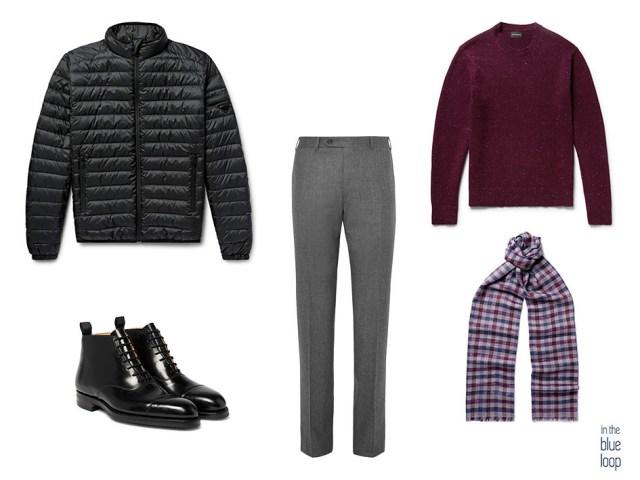 Look masculino con chaqueta de plumas, botas, pantalón de vestir, jersey y bufanda para un look smart casual