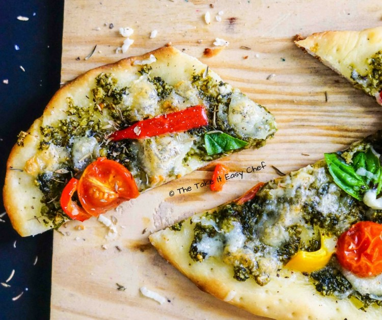 Pesto Pizza - sliced and ready to eat!