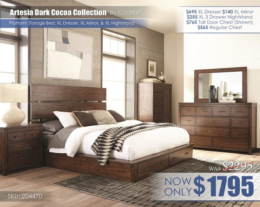 Artesia Dark Cocoa Platform Storage Bed XL Set