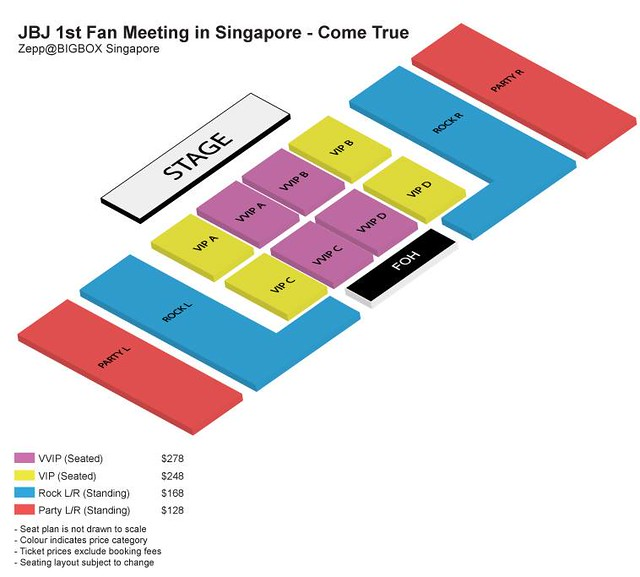 JBJ 1st Asia Fan Meeting 'Come True' Tour in Singapore Seating Plan