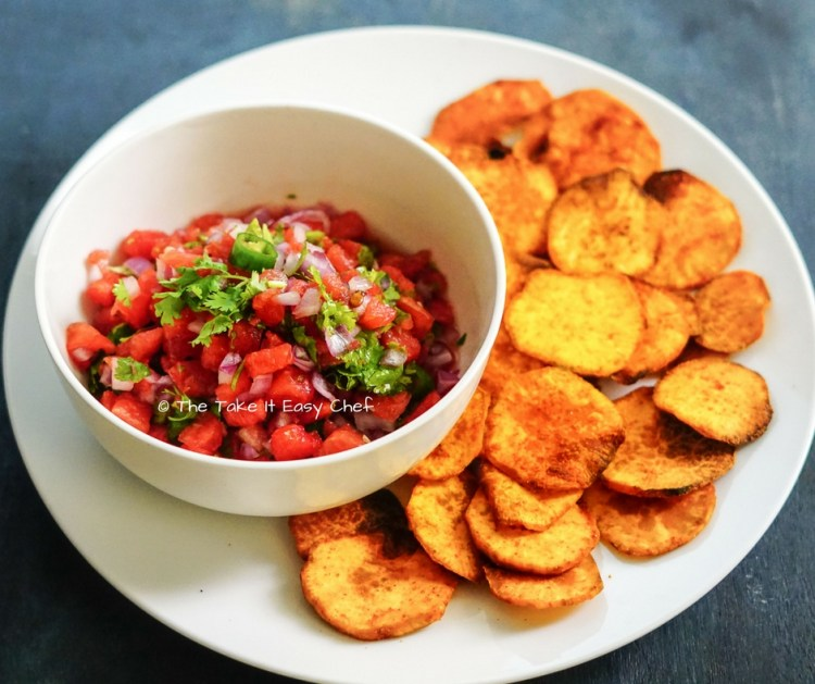 Baked Sweet Potato Chips with Watermelon Salsa