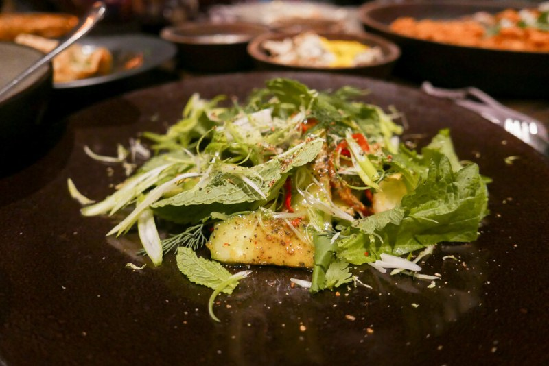 Spicy Cucumber Salad -  Pineapple and fish sauce dressing, lots of herbs ($13)