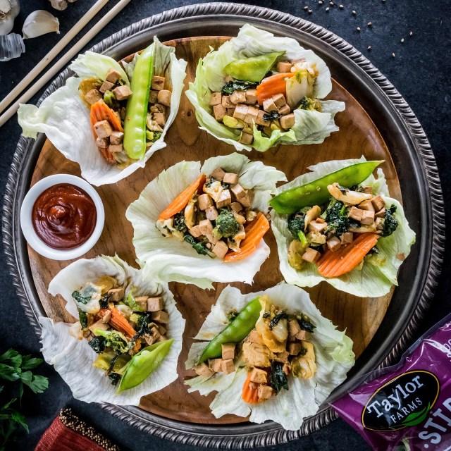 stir-fry veggie lettuce wraps with ginger-garlic tofu