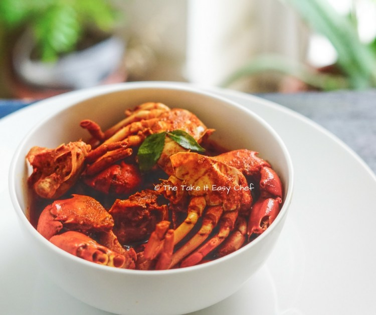 Crab Curry made with only chilli powder and salt, and drizzled with coconut oil