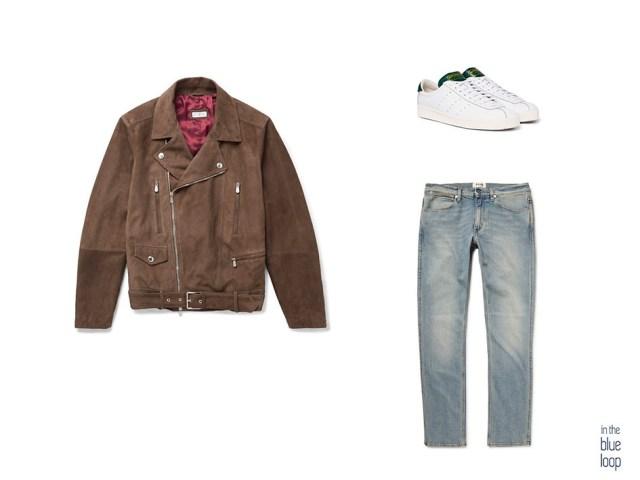 Combinación de look para hombre con cazadora tipo biker de ante con vaqueros y sneakers blancas de Adidas