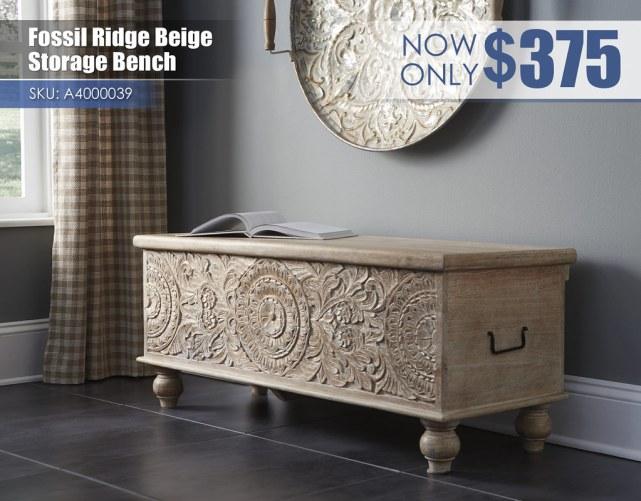 A4000039 - Fossil Ridge Beige Storage Bench $375