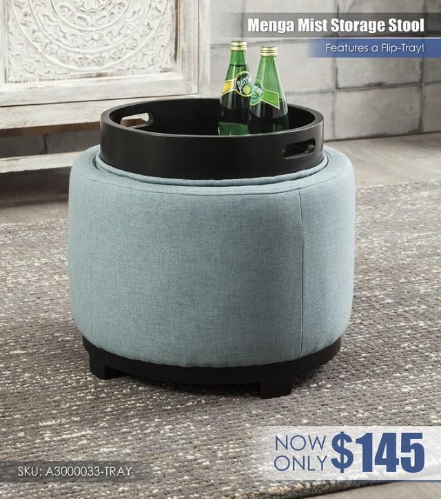 A3000033-TRAY - Menga Mist Storage Stool wFlip Tray $145