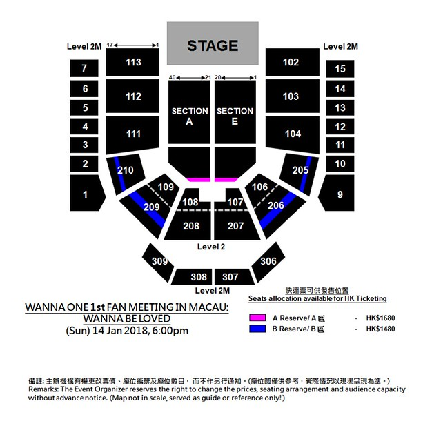 WannaOne 1st Fan Meeting in Macau - Seating Plan (HKTicketing version)