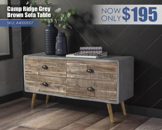A4000007 - Camp Ridge Grey & Brown Sofa Table $195