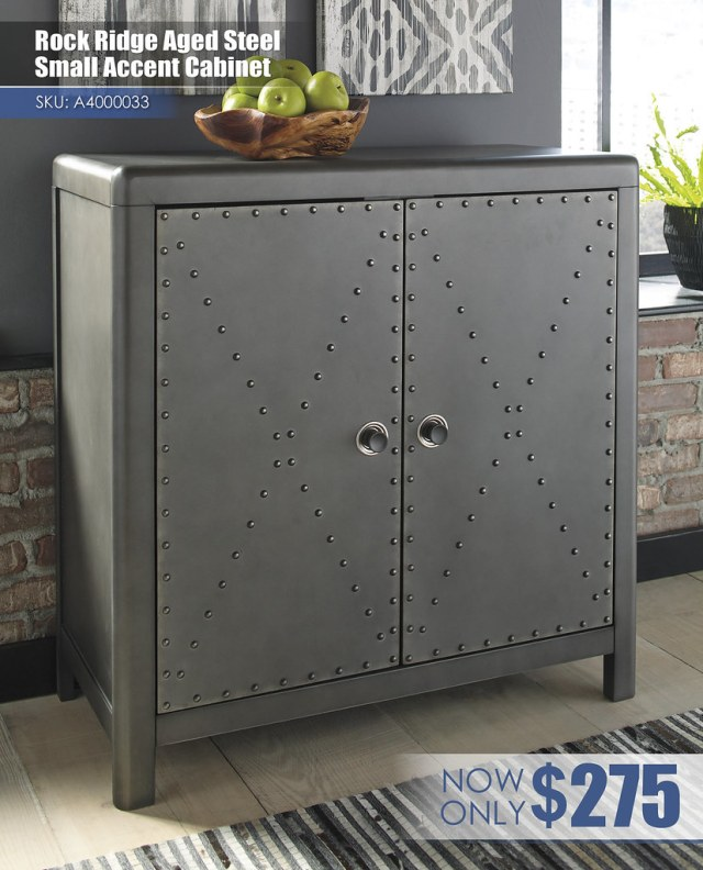A4000033 - Rock Ridge Aged Steel Small Accent Cabinet $275
