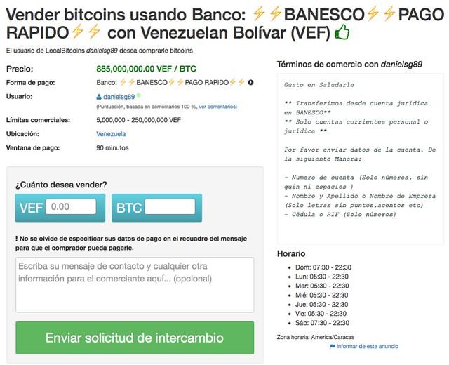 Ventana de transacción en LocalBitcoins