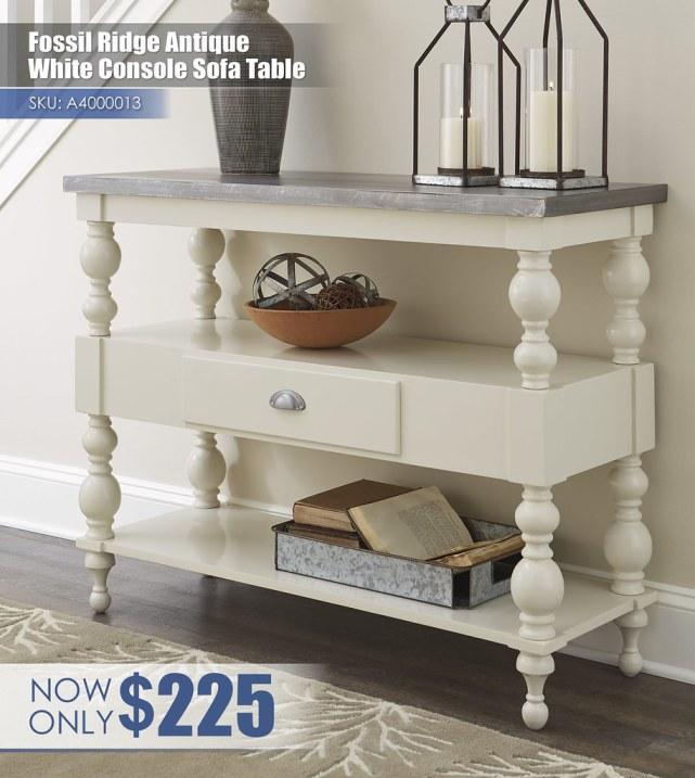 A4000013 - Fossil Ridge Antique White Console Sofa Table $225
