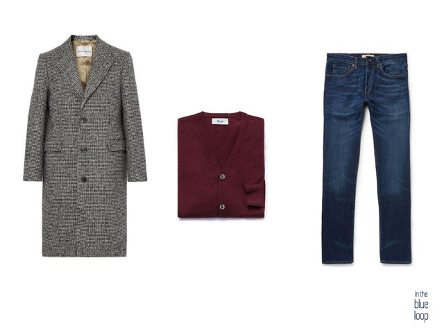 Look casual con vaqueros, cardigan y abrigo de lana masculino
