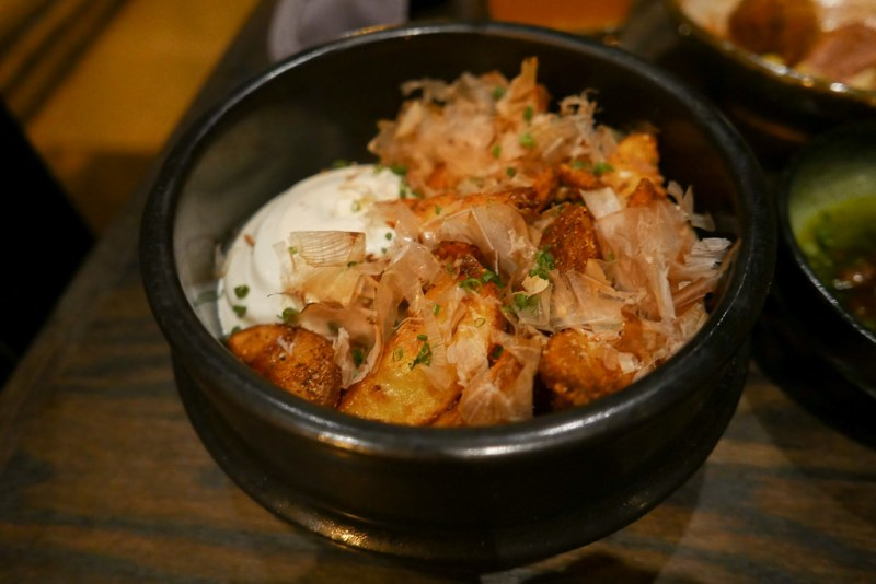Yukon Fries - Soy dusted, bonito flakes, tofu mayo ($11)