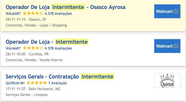 Jornadas de trabalho intermitente já estão sendo anunciadas em sites de vagas de emprego - Créditos: Reprodução