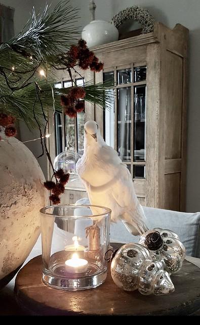 Vogel, windlicht, kersttuk