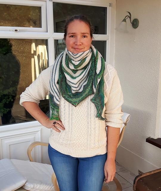 Machir bay shawl. (Modified) with dream stripes lace edging.   https://www.ravelry.com/projects/PippaKnight/machir-bay-shawl