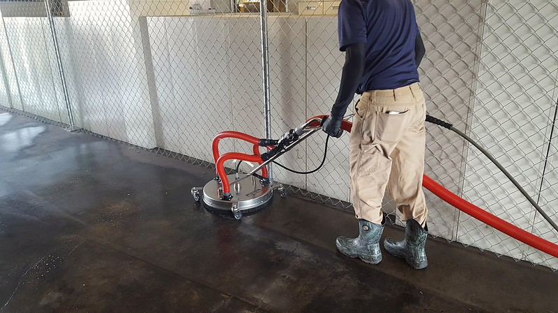 Commercial warehouse concrete cleaning with reclamation