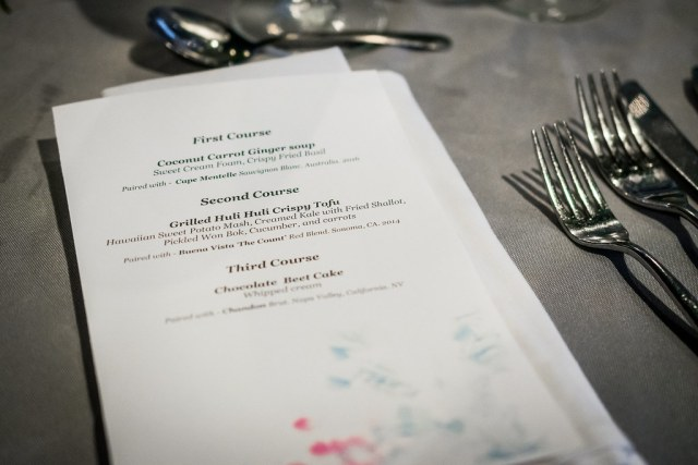 the menu for He Aina Ola farm-to-table dinner