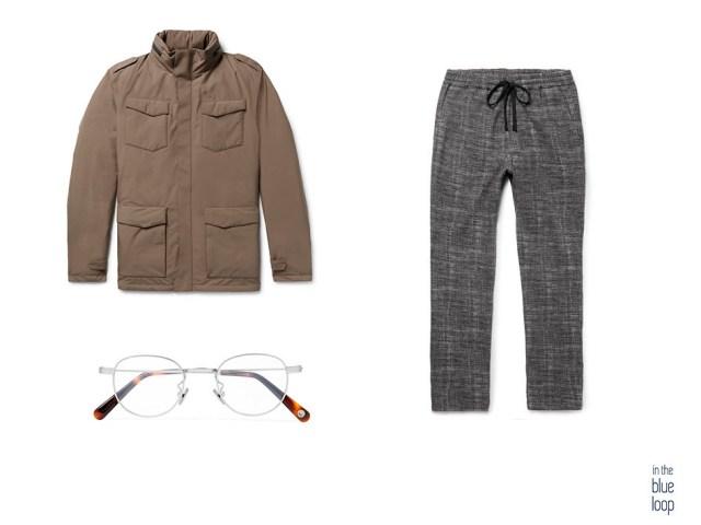 Plumas marrón con gafas de vista con montura plateada masculinas y pantalón casual para hombre