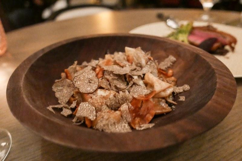 Chestnut Agnolotti stuffed with sheeps milk ricotta, celery root, black truffle, pecorino, roasted pears ($26)