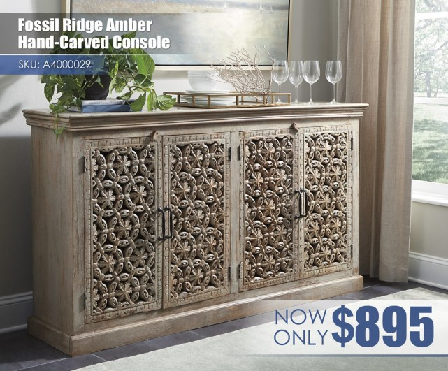 A4000029 - Fossil Ridge Amber Hand Carved Console $895