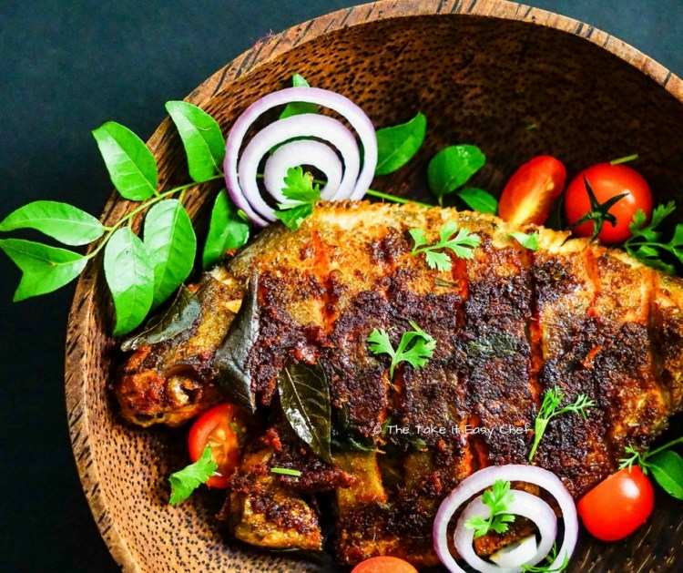 Kerala style fish fry - serve with a dash of lime