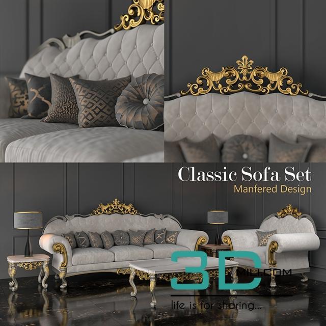 95 Classic Sofa Set  3D Mili  Download 3D Model  Free