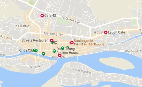 Points Google Maps pour Hoi An