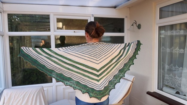 Machir bay shawl. (Modified) with dream stripes lace edging.   https://www.ravelry.com/projects/PippaKnight/machir-bay-shawl