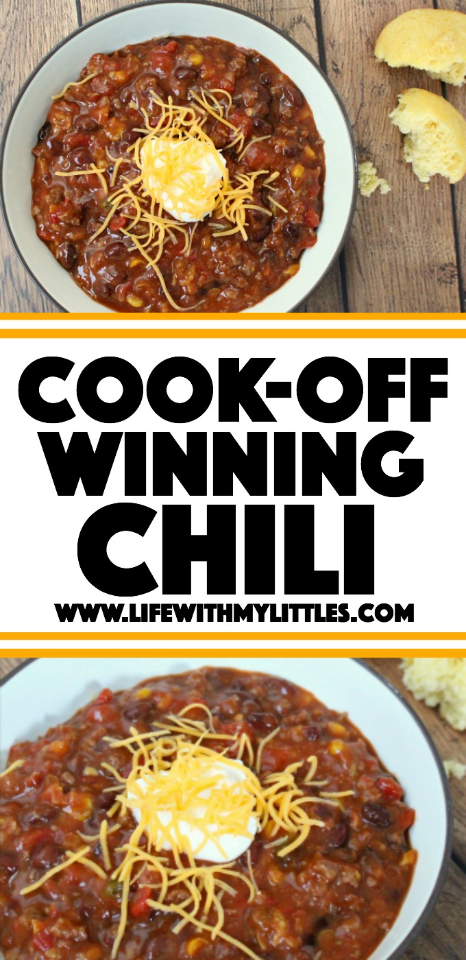 The best and easiest chili recipe to help you win those chili cook-offs! Five ingredients, it cooks in a crock pot, and it'll warm you right up on cold, winter days!