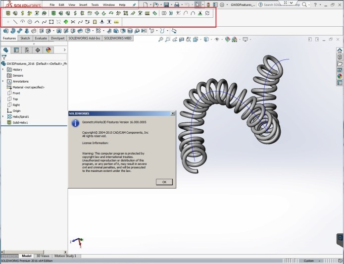 Working with GeometryWorks 3D Features V16.0.5 for SolidWorks 2016 full