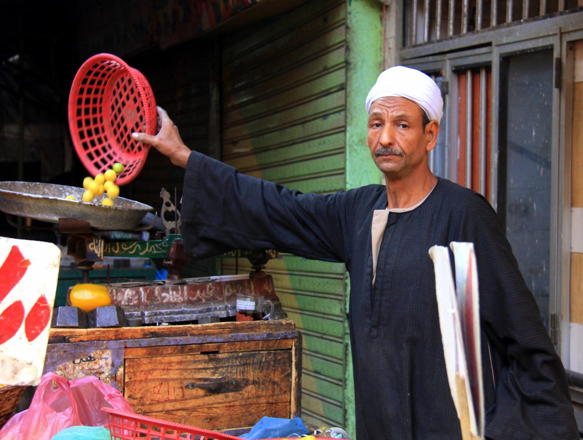 Lemon seller at a local market in Cairo