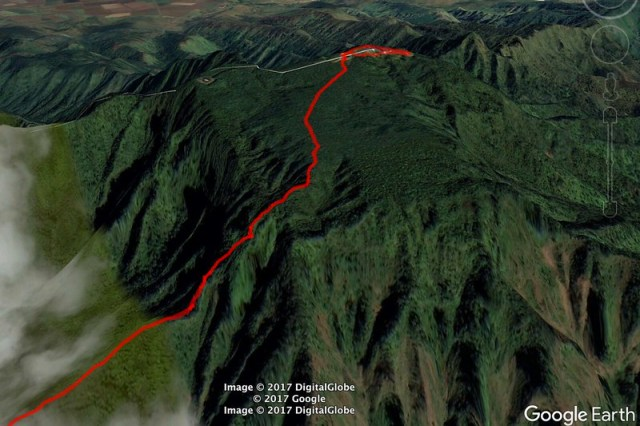 Top of Mt Kaala Google Earth