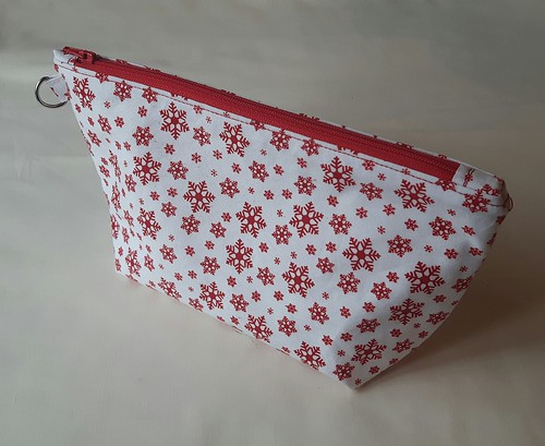 snowflake zippered lined pouch