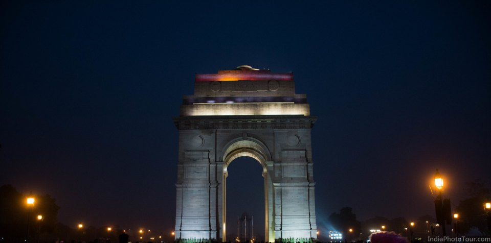 India Gate after sunset
