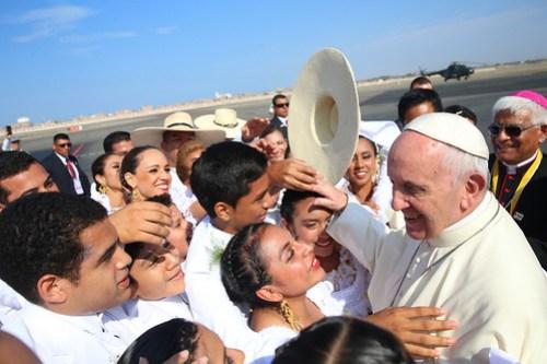 Llegada del Papa Francisco a Trujillo.