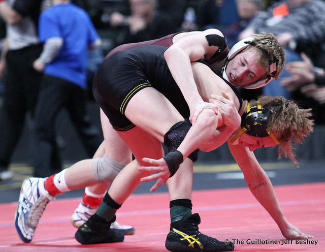 Semifinal - Derrick Cardinal (Forest Lake) 49-2 won by decision over Regan Schrempp (Apple Valley) 29-14 (Dec 4-2). 180303AJF0057