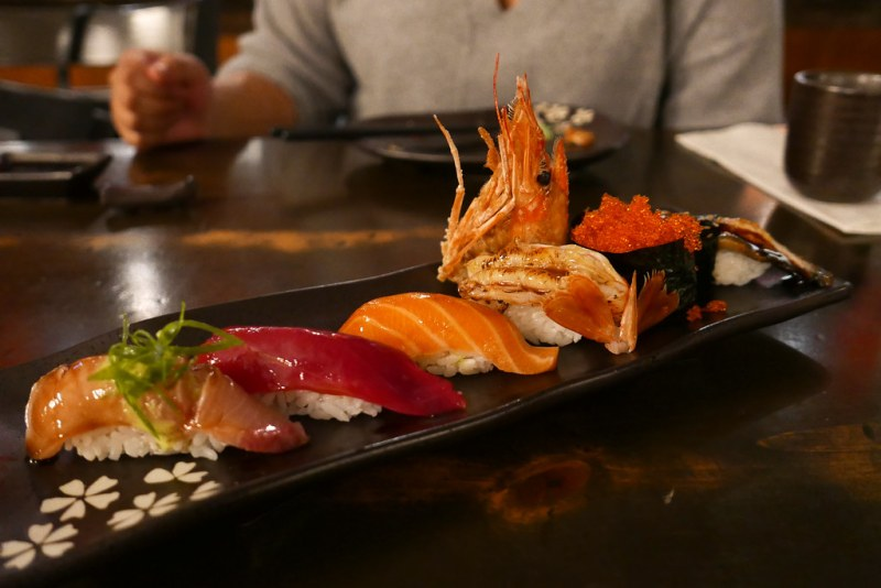 Hamachi (Yellowtail), Jalapeno, Cilantro, Garlic Powder | Hon Maguro (Bluefin Tuna} | Sake (Salmon) | Ebi (Tiger Shrimp) | Masago (Smelt Roe) | ($16)