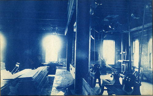 Interior of woodworking shop, circa 1888