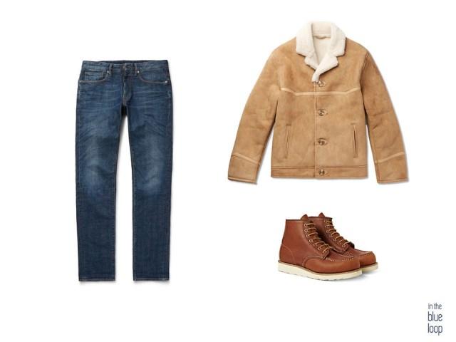 Look casual masculino con chaqueta de piel oveja o borrego, vaqueros y botas